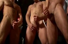 Hombres masturbándose y dejando sus corridas en un vídeo gay